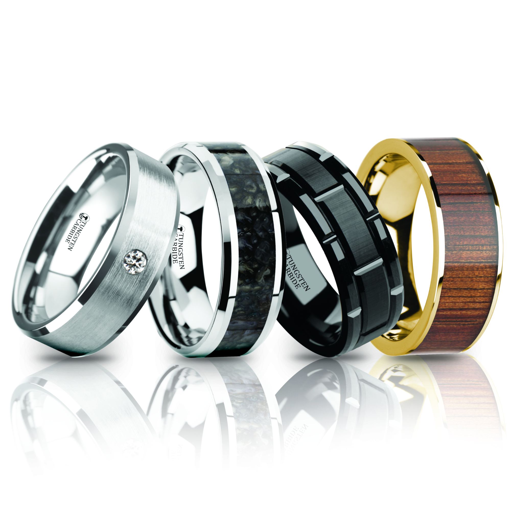 spun rings tungsten mens wedding artcarved band carbide in